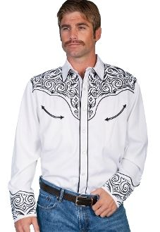 0aeb755b6 Scully Men s Fancy Full Stitched Retro Western Shirt Big And Tall - White