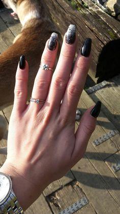 Black glitters ballerina coffin nail art