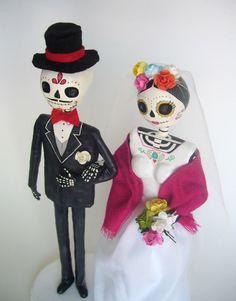 Bride and Groom Paper Mache day of the dead skeleton. by AmericaP, $63.00