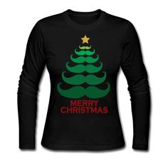 Merry Christmas Mustache Tree - Women's Long Sleeve Jersey T-Shirt