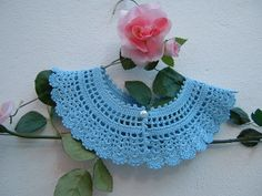 Colletto di cotone azzurro all'uncinetto-Collare retrò chic vittoriano-Crochet…