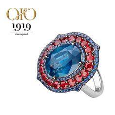 Кольцо с сапфирами и рубинами #IvyNewYork из коллекции бутика #Ювелирный1919