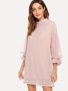To find out about the Pearl Beaded Sheer Mesh Panel Sleeve Dress at SHEIN, part of our latest Dresses ready to shop online today! Shift Clothing, Types Of Sleeves, Dresses With Sleeves, Casual Office Attire, Applique Dress, Sweatshirt Dress, Dress Cuts, Online Fashion Stores, Latest Dress