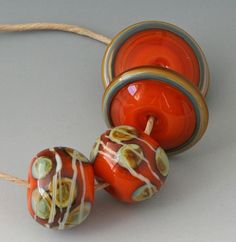 Random  Thoughts In Pairs  4 Handmade Lampwork Beads  by outwest, $16.00