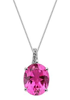 GoldnRox BI2563P1CPS/SIL Jewelry,Women's Oval Created Pink Sapphire SS Pendant, Women's GoldnRox Necklaces Jewelry