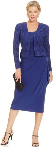 Alex Evenings Glitter Lace Faux-Wrap Dress And Jacket in Blue (Navy)
