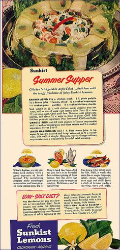 Summer Supper: Chicken Vegetable Aspic Salad (gelatin made with chicken broth, plus asparagus, peas, chicken chunks, and parsley) (1953)