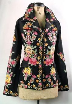 Renaissance Roses Jacket Vibrant embroidered blooms meander upon a fitted jacket sewn in fine cotton. Fully lined. Rose Jacket, Jacket Style, Cute Coats, Refashion, Boho Fashion, Style Me, Cool Outfits, Women Wear, Style Inspiration