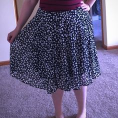 Host pick Navy Blue Polka Dot Skirt Summer navy blue polka dot skirt. Pleated sheer fabric with lightweight lining and stretches at waist band. No zipper INC International Concepts Skirts