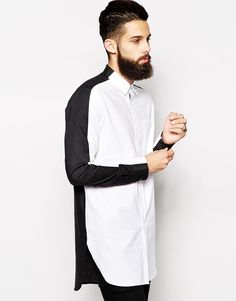 Image 1 of ASOS Oxford Shirt In Longline With Black And White Split Panel