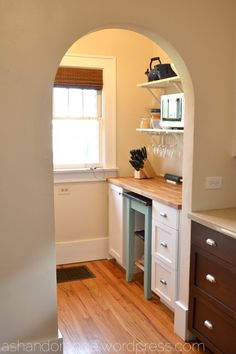 Like many bungalows, we have a small 5 x 5 room (I call it a nook) attached to our kitchen. When it came time to redo the kitchen, we considered removing the wall and making the nook part of … Kitchen Island Cart, Kitchen Nook, Kitchen Cabinets, Kitchen Ideas, Space Saving Kitchen, Breakfast Nook, Home Organization, Organizing, Country Kitchen