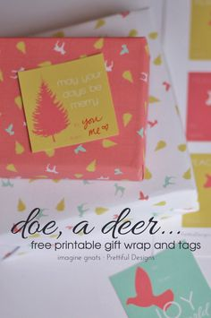{Free printable} Adorable gift wrap and tags from imagine gnats -- bonus, the non-traditional colors make this great for a baby shower, or birthday too!