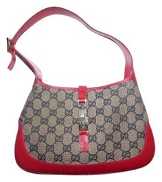 258d664beaa Jackie Vintage O Logo Designer Purses Red and Brown G Logo Leather Canvas  Hobo Bag