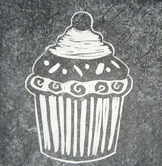Cupcake, Hand Burnished, Lino Print on Silk Paper. by emmasm02