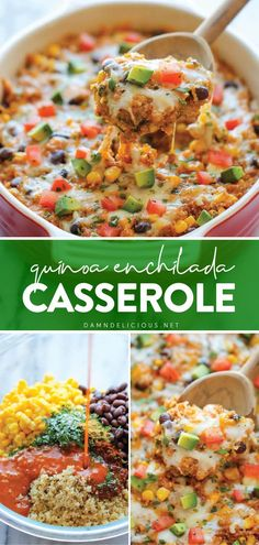 Healthy Mexican Food, Easy Mexican Food Recipes, Mexican Meals, Healthy Comfort Food, Vegetarian Recipes, Healthy Food, Cooking Recipes, Vegetarian Enchilada Casserole, Healthy Casserole Recipes