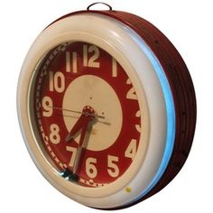 1930s Neon Clock By Cleveland Clock Company Industrial, Glass, Metal, Acrylic, Clock by Architectural Anarchy