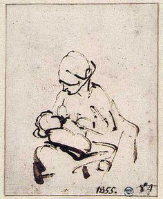 Woman suckling a child - Rembrandt, Wikipaintings