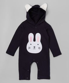Look what I found on #zulily! Black Bunny Hooded Romper - Infant #zulilyfinds