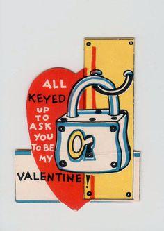#Vintage Lock & Key Die-Cut #Valentine All Keyed Up by FairOaksAntiques