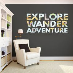 Explore Wander Adventure Wall Decal - Printed Quotes, Travel Stickers