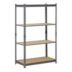 This versatile Muscle Rack Steel Garage Storage Rack can be assembled vertically as a shelving unit or horizontally as a workbench. This storage. Steel Storage Rack, Garage Storage Shelves, Office Storage, Garage Organization, Basement Storage, Organizing, Garage Shelving Units, Steel Shelving Unit, Metal Shelves