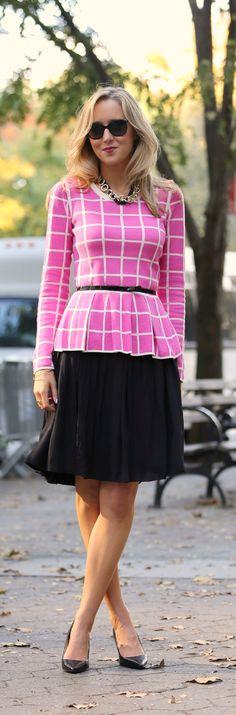 The Classy Cubicle: Pink Windowpane Peplum