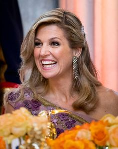 Queen Maxima during a dinner for 150 Dutch people to celebrate King Willem-Alexander's 50th birthday in The Royal Palace on April 28, 2017