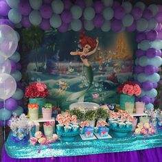 Beautiful birthday decoration from Piñatas en Tutus using our Little Mermaid backdrop! Backdrops are amazing decoration for your parties!