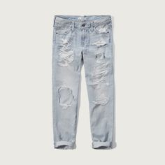 Abercrombie & Fitch Cropped Boyfriend Jeans ($26) ❤ liked on Polyvore featuring jeans, bottoms, light blue, ripped boyfriend jeans, light blue boyfriend jeans, distressed jeans, destroyed jeans and boyfriend crop jeans