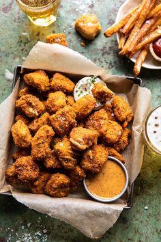 Oven Fried Cajun Popcorn Chicken with Creamy Honey Mustard. - Half Baked Harvest Food Recipes For Dinner, Food Recipes Keto Homemade Cajun Seasoning, Honey Mustard Sauce, Good Food, Yummy Food, Tasty, Healthy Food, Half Baked Harvest, Comfort Food, Gourmet