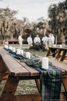 21 Green Wedding Ideas That Are Fueling Our Latest Color Crush - Tartan table runner{Brooklyn Focus Photography} Scottish Wedding Themes, Tartan Wedding, Kilt Wedding, Wedding Tuxedos, Wedding Table Centerpieces, Wedding Tables, Wedding Table Runners, Wedding Decoration, Table Decorations