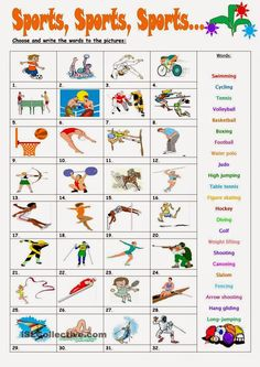 Can you identify these sports? Learn here or have a look at all the Olympic sports Where do you go to practise them? Sport English, Kids English, English Class, English Lessons, Learn English, Vocabulary Worksheets, Grammar And Vocabulary, Worksheets For Kids, English Vocabulary
