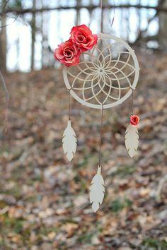 Coral Floral Wood Dreamcatcher Flower Bohemian by WhitehallFarmMD