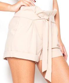 Look at this #zulilyfind! Beige Paper Bag Shorts by Katrus #zulilyfinds