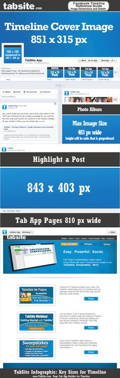 Facebook Timeline Infographic of key image sizes including the newly updated Profile image that is 160 x 160 px