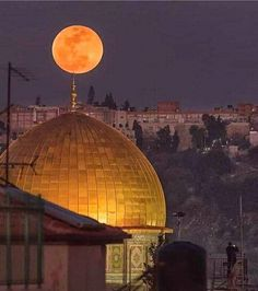 Dome of the Holly Rock - Jerusalem- Palestine Beautiful Moon, Beautiful World, Beautiful Places, Photos Islamiques, Terra Santa, Naher Osten, Dome Of The Rock, Israel Palestine, Islamic Wallpaper