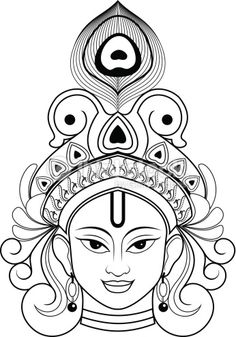 Beautiful Outline Drawing of Lord krishna. Art Drawings Beautiful, Cool Art Drawings, Art Drawings Sketches, Sketches Of Birds, Mandala Art, Mandala Drawing, Buddha Kunst, Buddha Art, Buddha Drawing