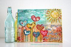 LOVE THIS DUTCH ARTIST!!!!original ART mixed media canvas love grows here feeding by Revlie, $125.00