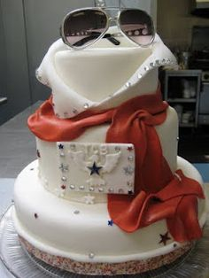 """""""Elvis Cake""""  Southern Red Velvet Cake with Cream Cheese Pecan Filling and Fondant Covering and Decor"""