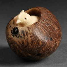 Ivory Okimono of a Bird in a Nest Nest, Auction, Coconut, Ivory, Sculpture, Bird, Nature Inspired, Asian Art, Number