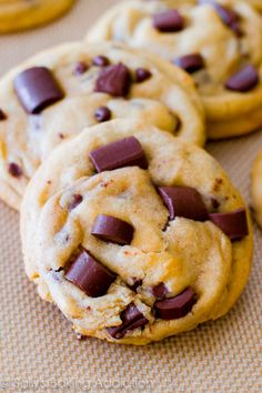 Chewy Chocolate Chunk Cookies - learn the secrets to making them extra soft and thick!