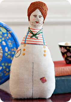 Hand Embroidered Art Doll