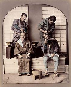 Barber Shop, about 1880.  Felice Beato et/ou Raimund von Stillfried-Ratenicz