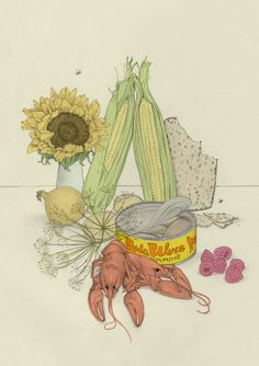 Mediterranean food still life | youngdrawings.com  #food #drawing #StillLife #art #Mediterranean #YoungDrawings