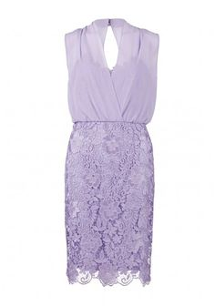 Beautiful in lilac and lace,Gina Bacconi's bouquet guipure dress with blouson chiffon top is a feminine and elegant option for a day at the races or a summer wedding
