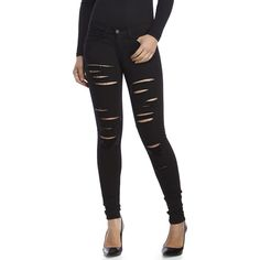 Flying Monkey Black Distressed Skinny Jeans ($50) ❤ liked on Polyvore featuring jeans, black, skinny fit jeans, skinny leg jeans, ripped jeans, torn skinny jeans and stretch denim skinny jeans