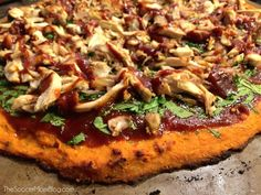 One of the best things I've eaten in a LONG time-- healthy or not! (But it IS healthy!) Barbecue Chicken Pizza with Sweet potato crust is gluten free, dairy free and packed with protein and veggies. Paleo Chicken Recipes, Sweet Potato Recipes, Cooking Recipes, Healthy Recipes, Free Recipes, Pizza Recipes, Dinner Recipes, Lean Recipes, Dinner Entrees