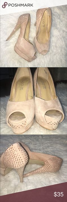Aldo elegant heels Super cute and stylish peep toe heels. Nude suede with little gems. They make a casual outfit look more stylish and accentuate a dressy outfit. Hate to let these go but these babies don't fit anymore. Trying to find them a better home than my closet ): these are ALDO. XO! Aldo Shoes Platforms