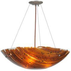 "24""W Torta Fused Glass Inverted Pendant"