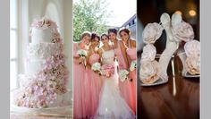 Pink bridesmaids with white flowery cake and wedding heels via eventsbyonefineday.com